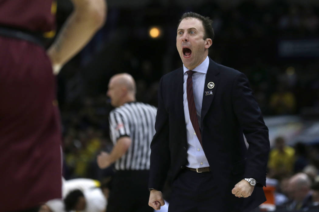 Minnesota head coach Richard Pitino yells during the first half of an NCAA college basketball game against Michigan in the semifinals of the Big Ten Conference tournament, Saturday, March 16, 2019 ...