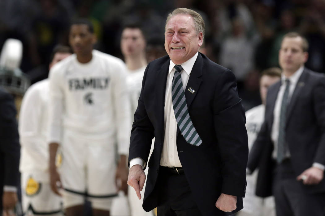 Michigan State head coach Tom Izzo reacts during the second half of an NCAA college basketball championship game against Michigan in the Big Ten Conference tournament, Sunday, March 17, 2019, in C ...
