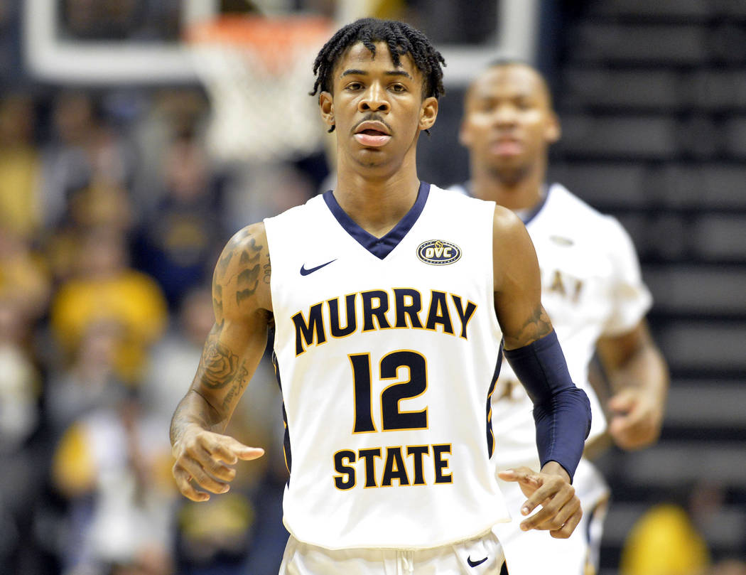 Murray State's Ja Morant in action during the first half of an NCAA college basketball game against SIU - Edwardsville in Murray, Ky., Saturday, Feb. 9, 2019. (AP Photo/Timothy D. Easley)