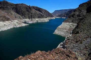 The low level of the water line is shown on the banks of the Colorado River in Hoover Dam, Ariz., in May 2018. (Ross D. Franklin/AP)