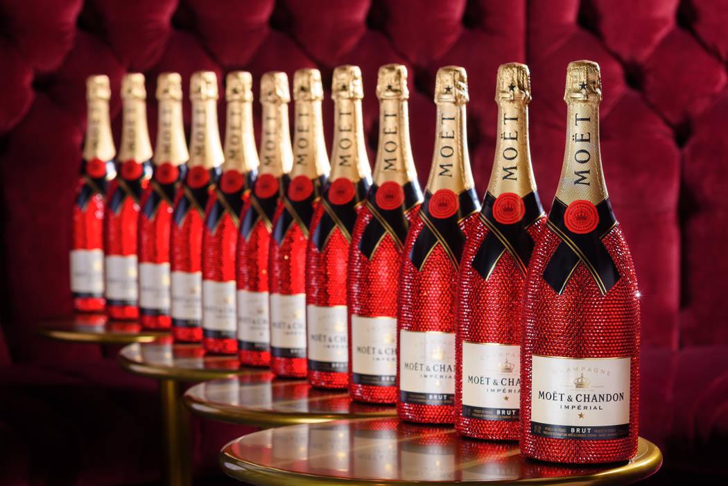 Moet Champagne bottles encrusted in Swarovski crystal. (The Venetian)