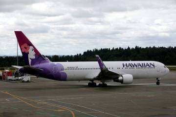 In this June 7, 2010 file photo an Hawaiian Airlines plane is shown at Seattle-Tacoma International Airport in Seattle. (AP Photo/Ted S. Warren, File)