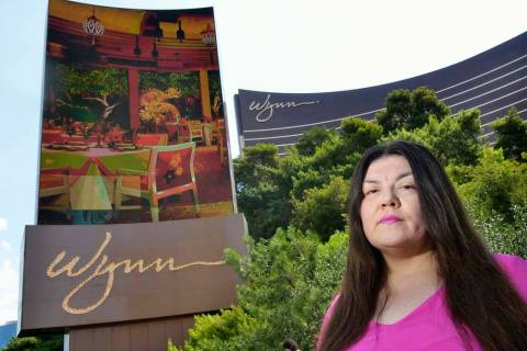 Table games dealer Kanie Kastroll is shown outside of the Wynn Las Vegas, July 26, 2018. (Bill Hughes/Las Vegas Review-Journal)
