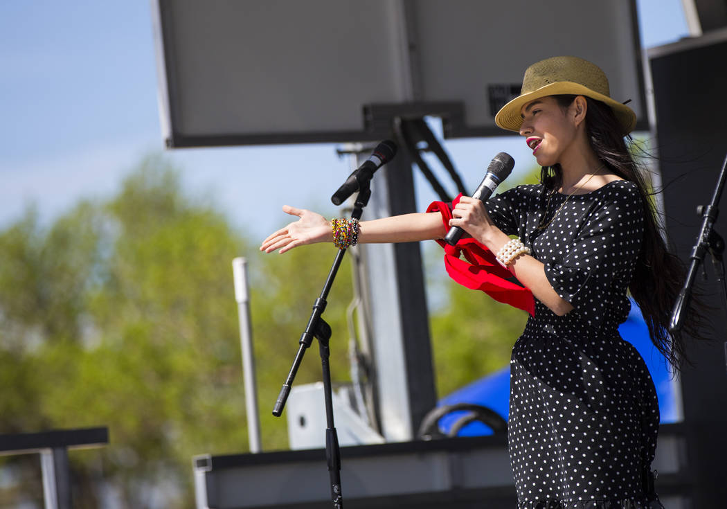 Sophia Camille, 15, of Las Vegas, sings during the Cesar Chavez Day festival at Freedom Park in Las Vegas on Saturday, March 23, 2019. (Chase Stevens/Las Vegas Review-Journal) @csstevensphoto