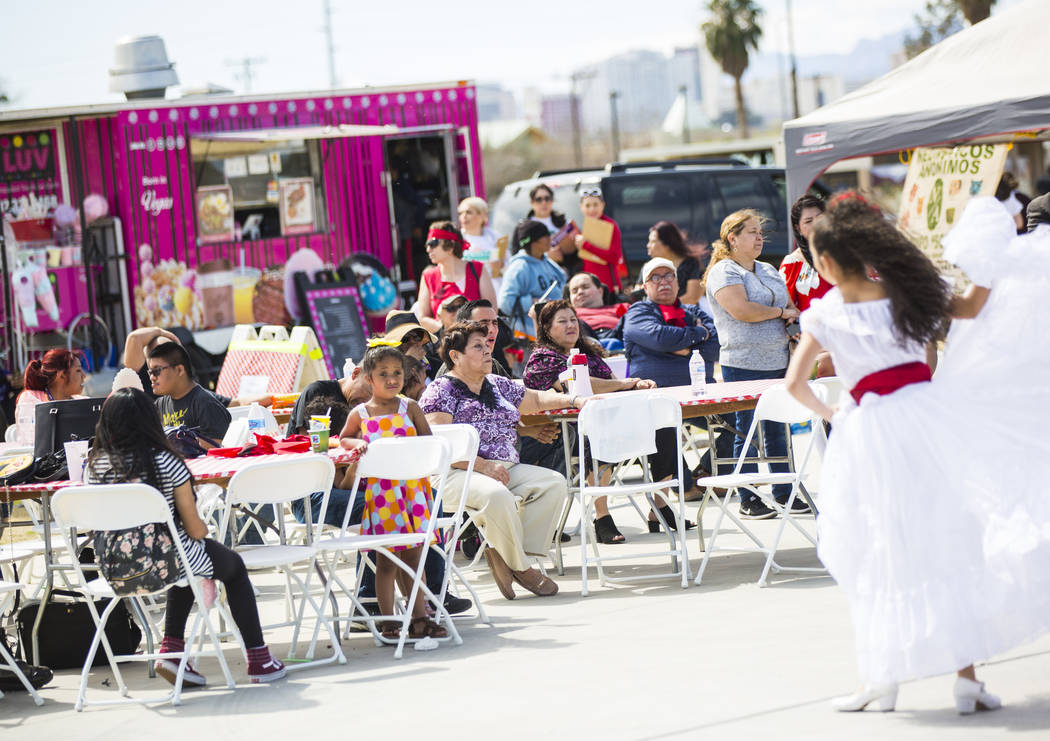 Attendees watch members of Mexio Vivo perform during the Cesar Chavez Day festival at Freedom Park in Las Vegas on Saturday, March 23, 2019. (Chase Stevens/Las Vegas Review-Journal) @csstevensphoto