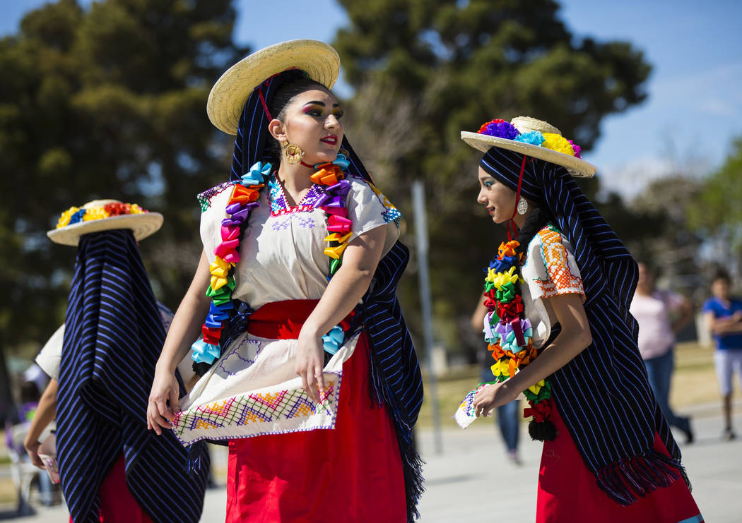 Members of the Mexico Vivo dance company perform a folklorico dance during the Cesar Chavez Day festival at Freedom Park in Las Vegas on Saturday, March 23, 2019. (Chase Stevens/Las Vegas Review-J ...