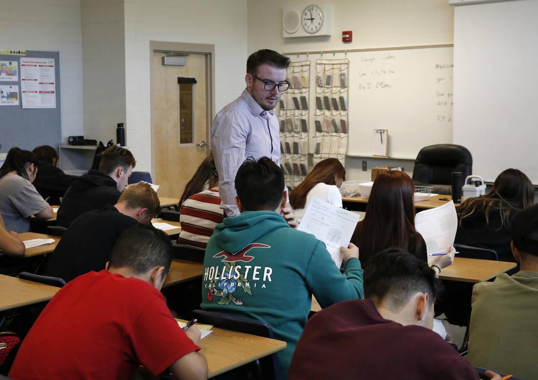 Spencer Skees, Desert Oasis High School math teacher supervises his student's test Thursday, Aug. 30, 2018, in Las Vegas. (Bizuayehu Tesfaye/Las Vegas Review-Journal) @bizutesfaye