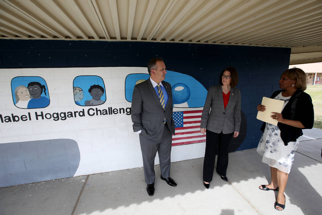 Hoggard Elementary principal Stacey Scott-Cherry, right, gives a tour to Clark County School District Superintendent Dr. Jesus F. Jara and Sen. Catherine Cortez Masto, D-Nev.,Tuesday, March 19, 20 ...