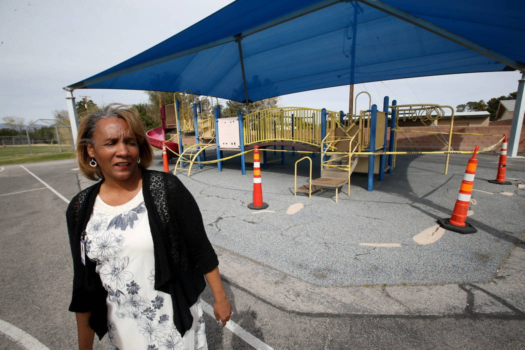 Hoggard Elementary principal Stacey Scott-Cherry shows a closed playground during a tour of the school Tuesday, March 19, 2019. (K.M. Cannon/Las Vegas Review-Journal) @KMCannonPhoto