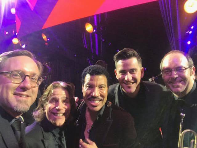 Adam Schroeder, Neil Maxa, Lionel Richie, Isaac Tubb and Dan Foster are shown at the Keep Memory Alive Power of Love gala at the MGM Grand Garden Arena on Saturday, March 16, 2019. (Isaac Tubb)