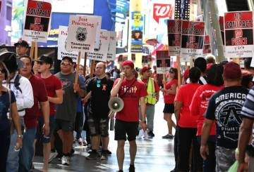 Paul Catha shouts slogans as Culinary Union members picket in front of the D Las Vegas on Friday, July 6, 2018, in downtown. (Bizuayehu Tesfaye/Las Vegas Review-Journal) @bizutesfaye