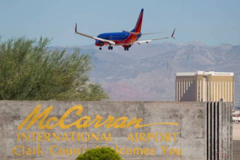A Southwest Airlines jetliner makes its approach to McCarran International Airport in Las Vegas in 2017. (Las Vegas Review-Journal)