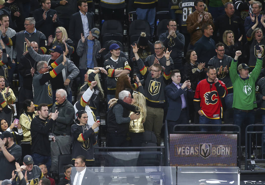 Golden Knights fans celebrate the team's win over the Calgary Flames in an NHL hockey game at T-Mobile Arena in Las Vegas on Wednesday, March 6, 2019. (Chase Stevens/Las Vegas Review-Journal) @css ...