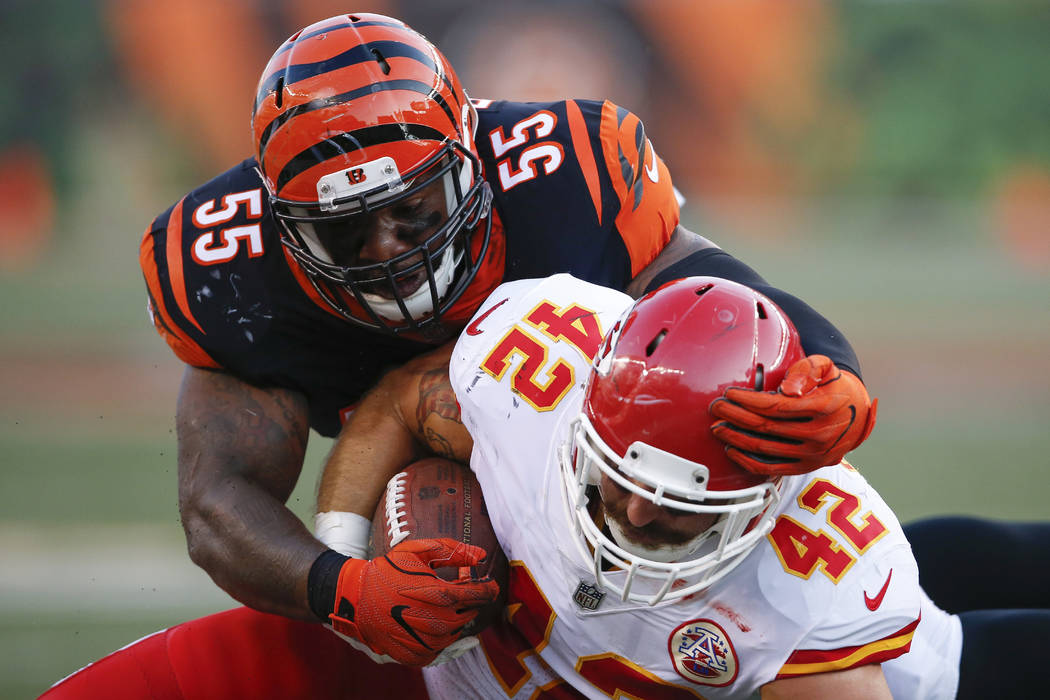 Cincinnati Bengals outside linebacker Vontaze Burfict (55) tackles Kansas City Chiefs fullback Anthony Sherman (42) during the first half of an NFL preseason football game, Saturday, Aug. 19, 2017 ...