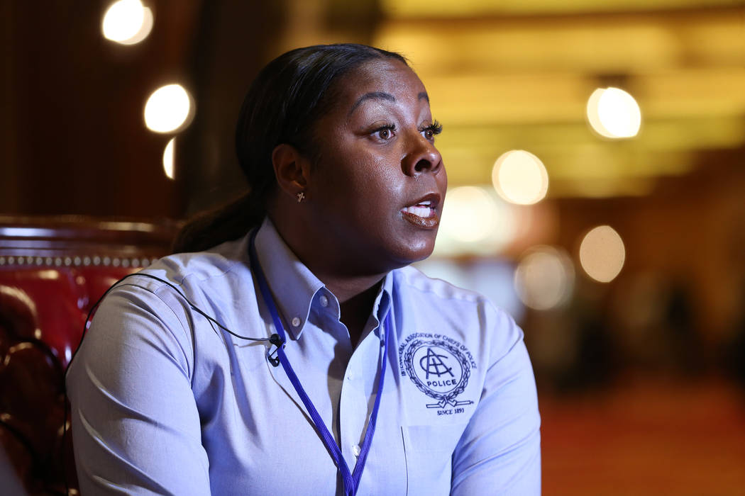 Henderson Police Department Chief LaTesha Watson is interviewed at Southpoint hotel-casino in Las Vegas, Wednesday, Nov. 7, 2018. (Erik Verduzco Las Vegas Review-Journal)