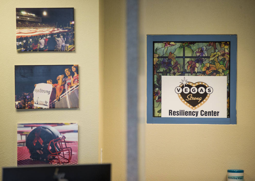 Signs and images that decorate the Vegas Strong Resiliency Center in Las Vegas on July 31, 2018. Chase Stevens Las Vegas Review-Journal @csstevensphoto