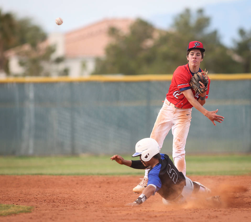 Liberty's Jack Hale (12) passes to first base after getting out Basic's Dominik Tavares (5) in the sixth inning of a baseball game at Liberty High School in Henderson, Tuesday, March 19, 2019. (Ca ...