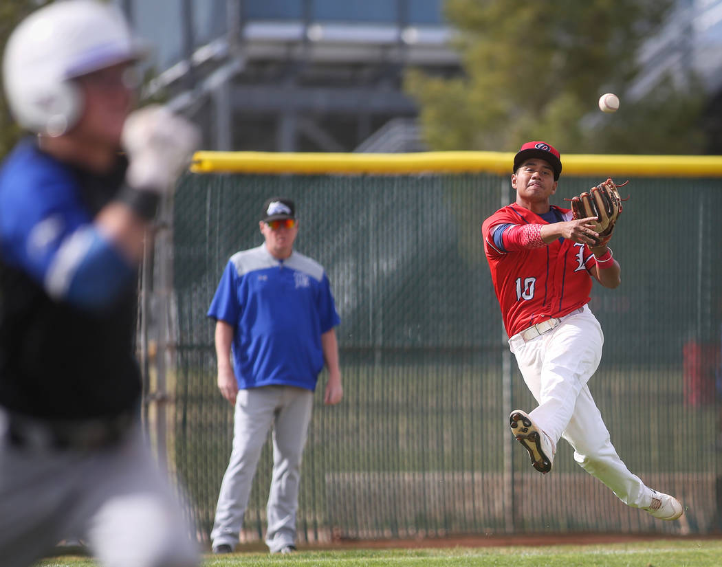 Liberty's Zanden Shim (10) passes to first base in the first inning of a baseball game at Liberty High School in Henderson, Tuesday, March 19, 2019. (Caroline Brehman/Las Vegas Review-Journal) @ca ...
