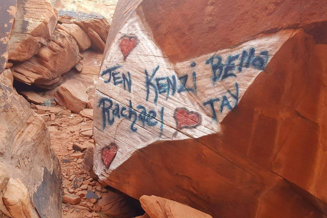 Friends of Red Rock Canyon have offered a reward for information leading to the arrest and conviction of anyone defacing Red Rock Canyon near Las Vegas. (Friends of Red Rock Canyon Facebook page)
