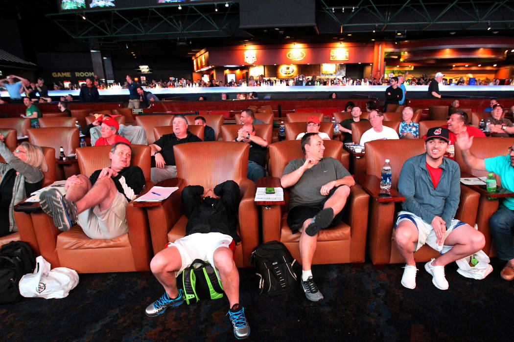 Guests react while watching a basketball game during the NCAA Tournament at the Westgate Superbook in Las Vegas Thursday, March 15, 2018. K.M. Cannon Las Vegas Review-Journal @KMCannonPhoto