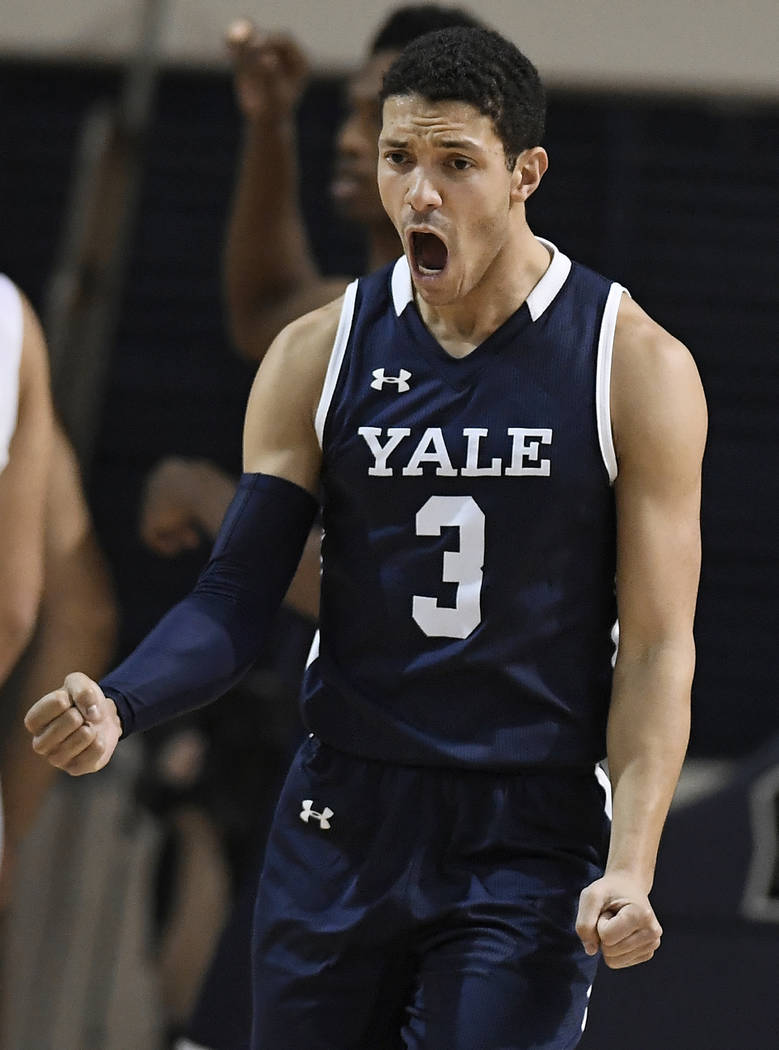 Yale's Alex Copeland reacts during the second half of an NCAA college basketball game for the Ivy League championship against Harvard at Yale University in New Haven, Conn., Sunday, March 17, 2019 ...