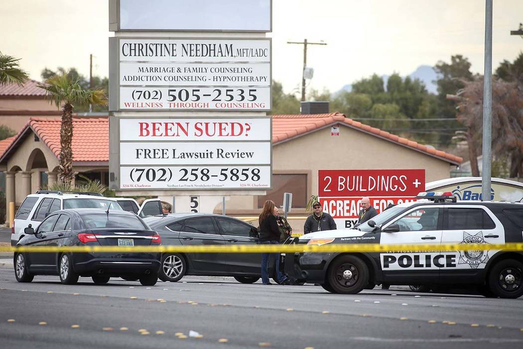 The Metropolitan Police Department investigates an apparent murder-suicide in the 5400 block of Eastern Avenue on Wednesday, March 20, 2019. (Caroline Brehman/Las Vegas Review-Journal) @carolinebr ...