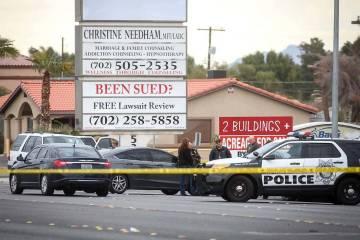 The Metropolitan Police Department investigates an apparent murder-suicide in the 5400 block of Eastern Avenue on Wednesday, March 20, 2019. (Caroline Brehman/Las Vegas Review-Journal) @carolinebr ...