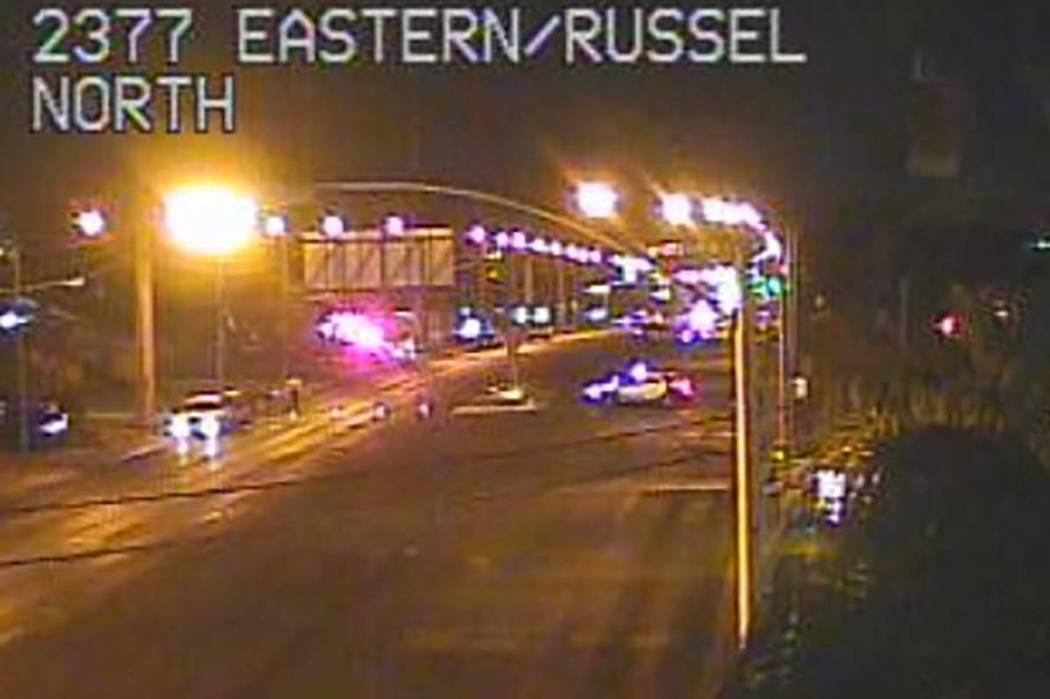 Las Vegas police are investigating a homicide on Eastern Avenue. Eastern Avenue at Russell Road is closed. (RTC camera)