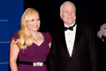 "In this May 3, 2014 file photo, Meghan McCain, and Sen. John McCain attend the White House Correspondents' Association Dinner in Washington. Meghan McCain says President Donald Trump life is ""pa ..."