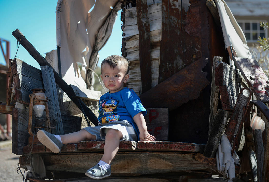 Aidin Merjil, 1, from Las Vegas sits on a wagon at the old western town during the last day of operations at Bonnie Springs Ranch in Las Vegas, Sunday, March 17, 2019. (Caroline Brehman/Las Vegas ...