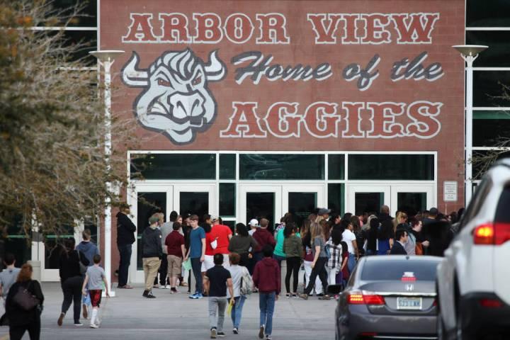 People arrive for an after-school event at Arbor View High School in Las Vegas, Tuesday, March 19, 2019. (Erik Verduzco/Las Vegas Review-Journal) @Erik_Verduzco