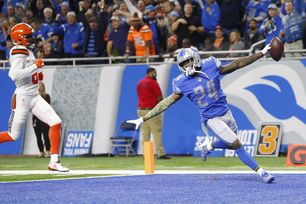 Detroit Lions cornerback Nevin Lawson (24) runs into the end zone for a 44-yard touchdown after recovering a Cleveland Browns fumble during an NFL football game in Detroit, Sunday, Nov. 12, 2017. ...