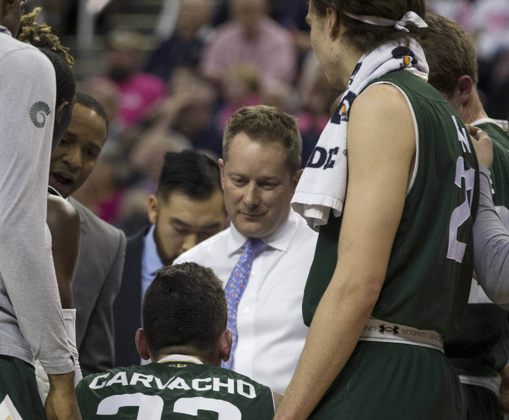 Colorado State head coach Niko Medved talks to his team during a timeout against Nevada in the second half of an NCAA college basketball game in Reno, Nev., Wednesday, Jan. 23, 2019. (AP Photo/Tom ...
