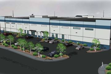 Brass Cap Development announced that it's building a roughly 40,000-square-foot industrial project called SanTico, a rendering of which is seen here, in the southwest Las Vegas Valley. (Courtesy ...