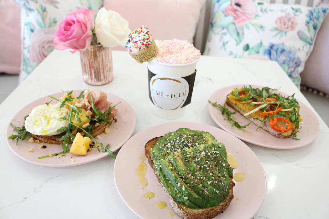 Cafe Lola in Las Vegas serves light bites in a feminine cafe. (Janna Karel Las Vegas Review-Journal)