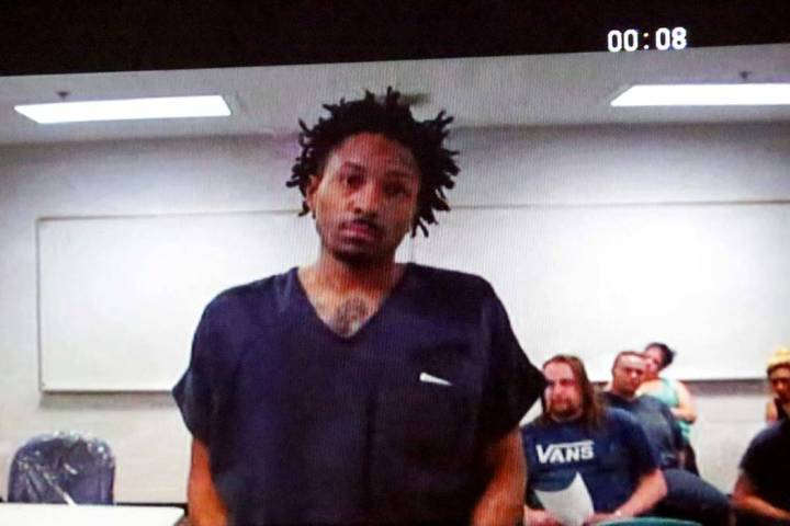 Ricky Beasley, the father of missing 3-year-old Zaela Walker, appears in North Las Vegas Court on camera from the Clark County Detention Center as he makes his first appearance on murder charges o ...