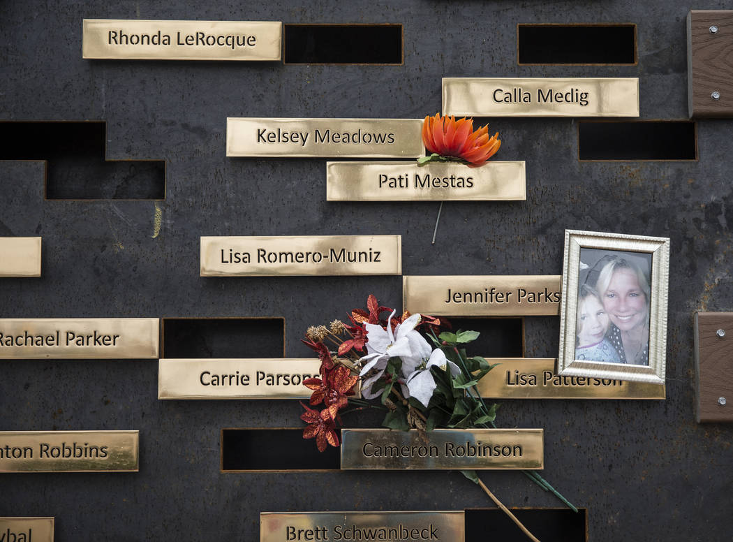 A wall honoring the victims of the Route 91 Harvest festival shooting at the Las Vegas Community Healing Garden on Wednesday, March 20, 2019, in Las Vegas. (Benjamin Hager Review-Journal) @Benjami ...