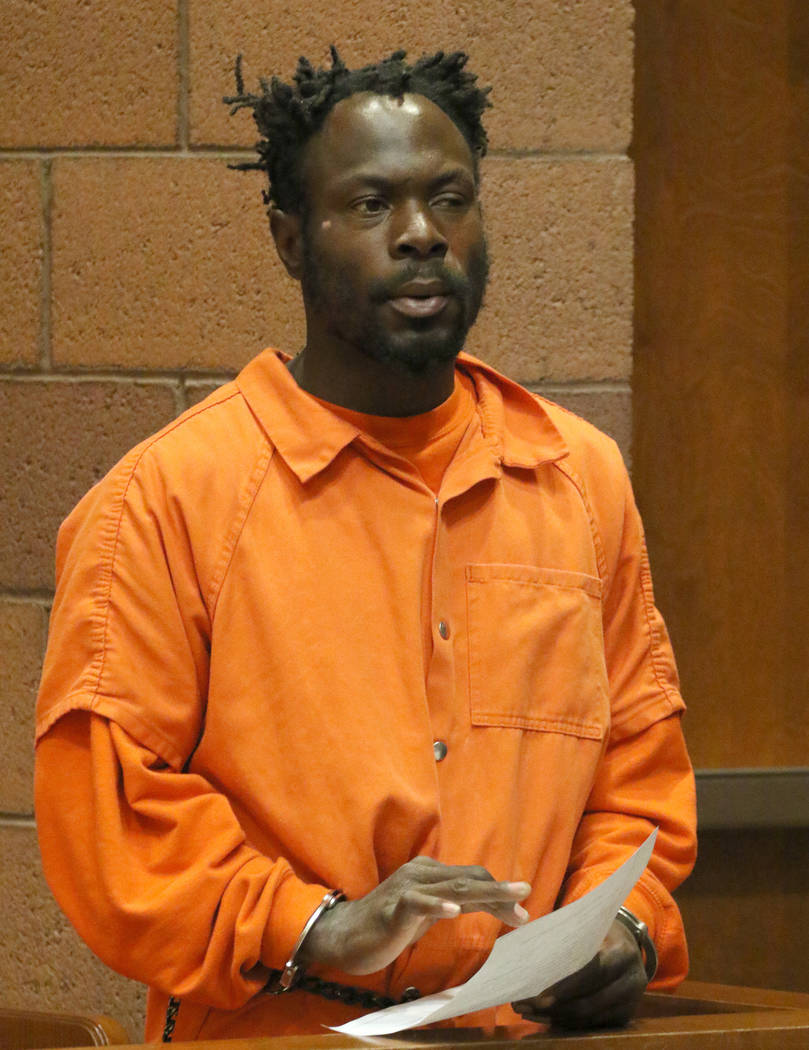 Eddie Lee Jackson, 38, appears at North Las Vegas Justice Court on Wednesday, March. 20, 2019. Jackson is accused of beating another homeless man to death during a fistfight on Owens Avenue last w ...