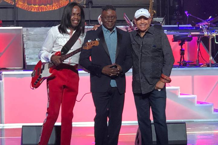 Verdine White, Philip Bailey and Ralph Johnson of Earth Wind & Fire are shown on stage during sound check at Venetian Theatre on Wednesday, March 20, 2019. (John Katsilometes/Las Vegas Review-Jour ...
