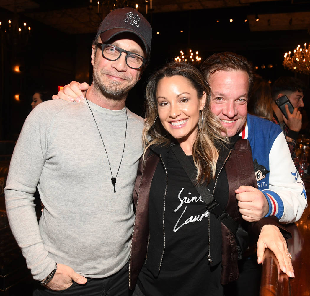 Britney Spears' manager Larry Rudolph, Jen Barnet and Jeff Beacher are shown at The Barbershop Cuts and Cocktails at the Cosmopolitan of Las Vegas on Saturday, March 16, 2019. (Michael Simon/start ...