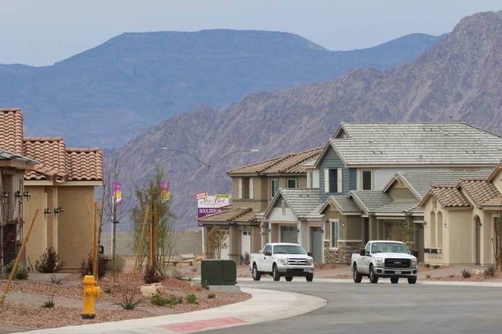 New houses are going up by Las Vegas builder StoryBook Homes, at the corner of Adams Boulevard and Bristlecone Drive in Boulder City, March 20, 2019. (Bizuayehu Tesfaye/Las Vegas Review-Journal) @ ...