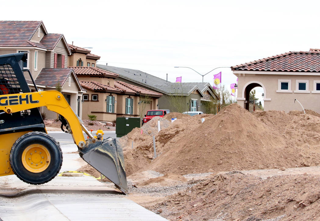 Las Vegas builder StoryBook Homes is building new houses at the corner of Adams Boulevard and Bristlecone Drive in Boulder City, Wednesday, March. 20, 2019 . (Bizuayehu Tesfaye/Las Vegas Review-Jo ...