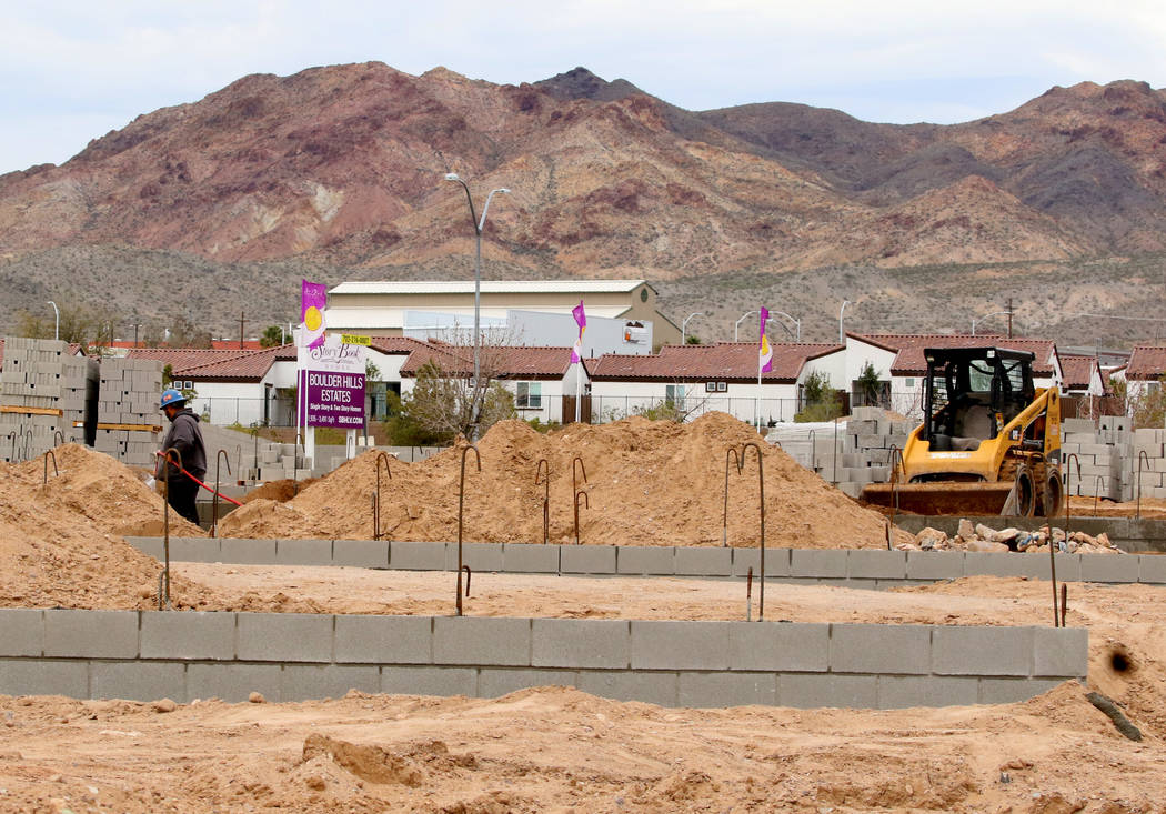 The construction site where Las Vegas builder StoryBook Homes is at the corner of Adams Boulevard and Bristlecone Drive in Boulder City, March 20, 2019. (Bizuayehu Tesfaye/Las Vegas Review-Journal ...