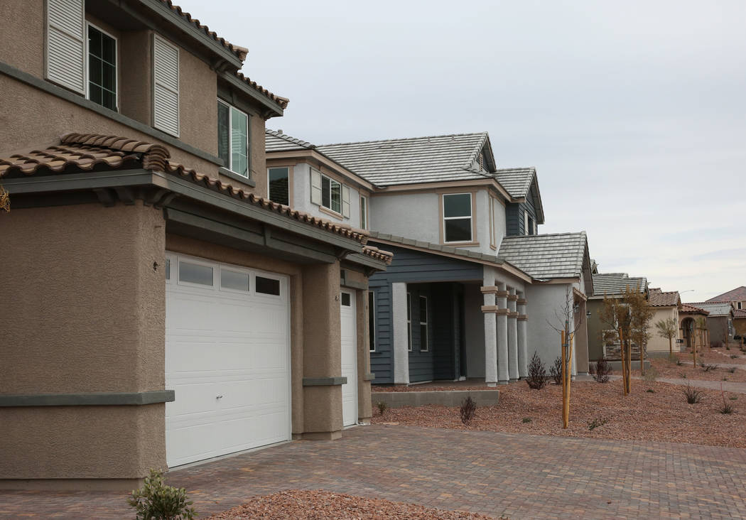 New houses are seen at the construction site where Las Vegas builder StoryBook Homes is building a project on Wednesday, March. 20, 2019 at the corner of Adams Boulevard and Bristlecone Drive in B ...