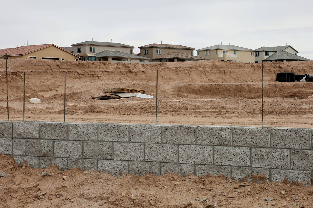 The construction site where Las Vegas builder StoryBook Homes is building new houses, at the corner of Adams Boulevard and Bristlecone Drive in Boulder City, is photographed on Wednesday, March 20 ...