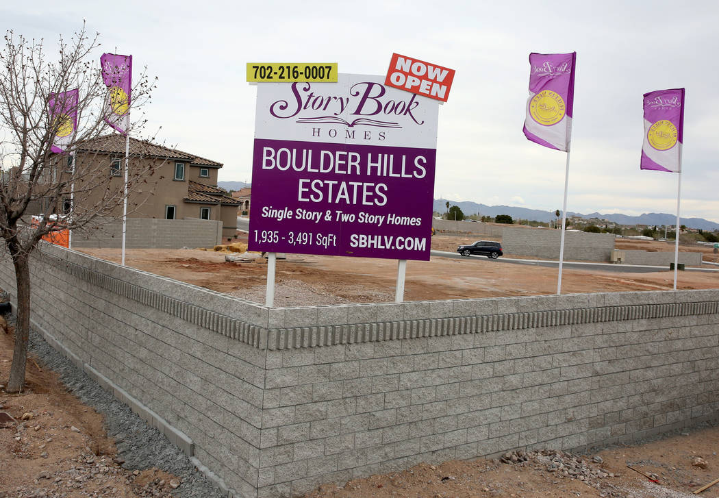 The construction site where Las Vegas builder StoryBook Homes is building new houses, at the corner of Adams Boulevard and Bristlecone Drive in Boulder City, Wednesday, March 20, 2019. (Bizuayehu ...