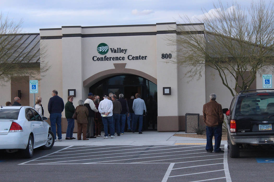 People line up to enter Valley Electric Association's annual District 1 meeting in Pahrump on March 7, 2019. The meeting occurred at Valley's conference center. (Jeffrey Meehan/Pahrump Valley Times)