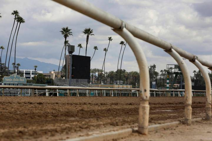 FILE - This March 7, 2019, file photo, shows the empty home stretch at Santa Anita Park in Arcadia, Calif. A filly broke both front legs at the end of a workout on the main dirt track at Santa Ani ...
