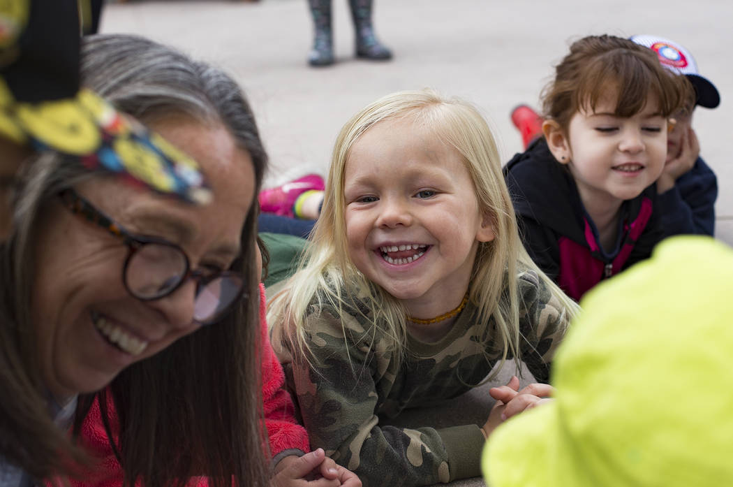 Naturalist Jody Walker laughs with Declan Kriebel, 4, during the Nature Tykes program at Clark County Wetlands Park in Las Vegas, Wednesday, March 20, 2019. The program incorporates story time, cr ...