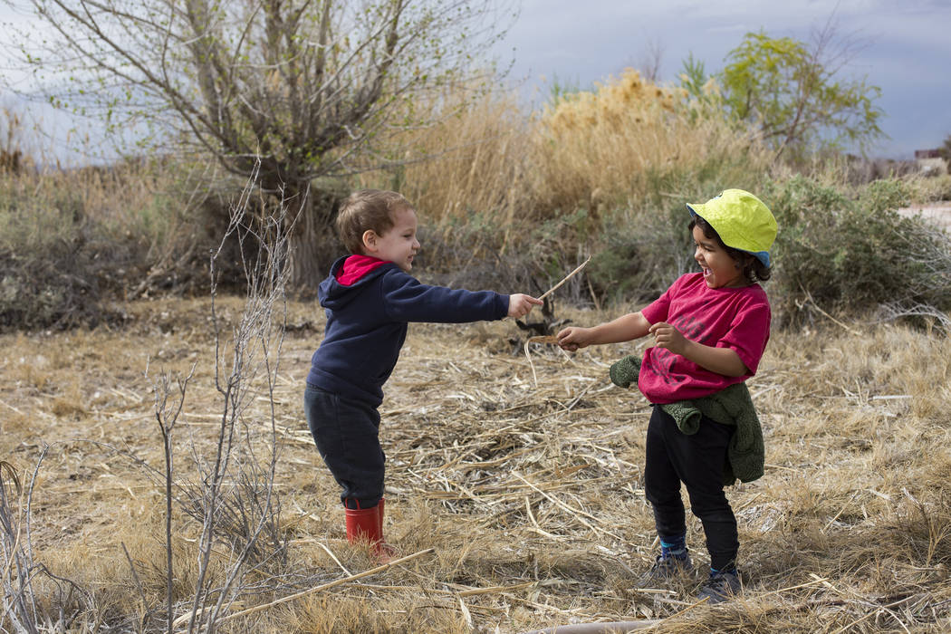 Westley Valdez, 3, plays with Louie Schmidt, 3, during the Nature Tykes program at Clark County Wetlands Park in Las Vegas, Wednesday, March 20, 2019. The program incorporates story time, crafts, ...